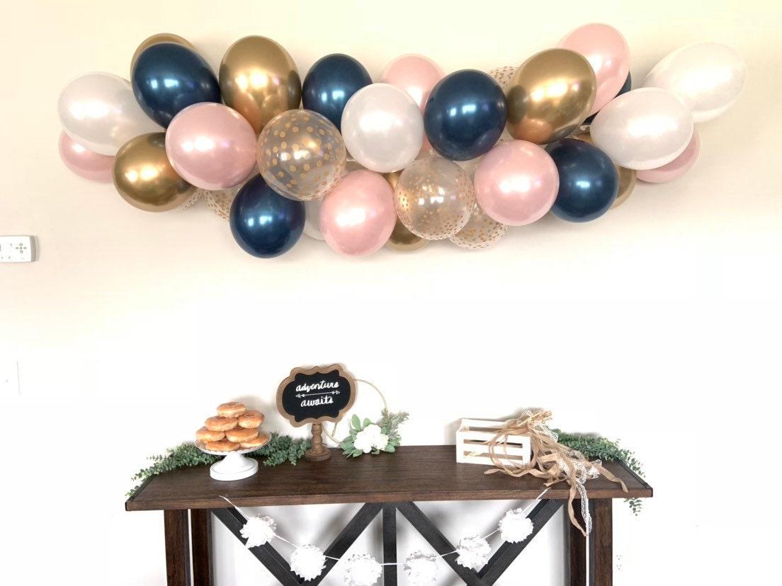 Navy And Blush Balloon Garland Diy Kit Navy Blue Bridal Shower Decor Navy And Blush Baby Shower Gold Wedding Balloon Garland Photo