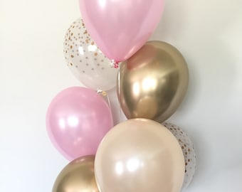 Pink and Gold Balloons   Pink and Chrome Gold Balloons   Pink and Blush Balloons   Gold Bridal Shower Decor   Blush Bridal Shower