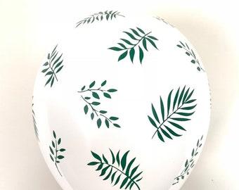 Tropical Balloons | Green Leaf Balloons | Palm Leaves Decor | Hawaiian Bridal Shower Decor | Lets Flamingle Party Tropical Birthday Balloons