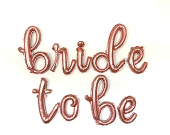 Bride To Be Balloons | Rose Gold Bridal Shower Decor | Bride To Be Sign | Rose Gold Bride To Be Script Balloons | Rose Gold Script Balloons