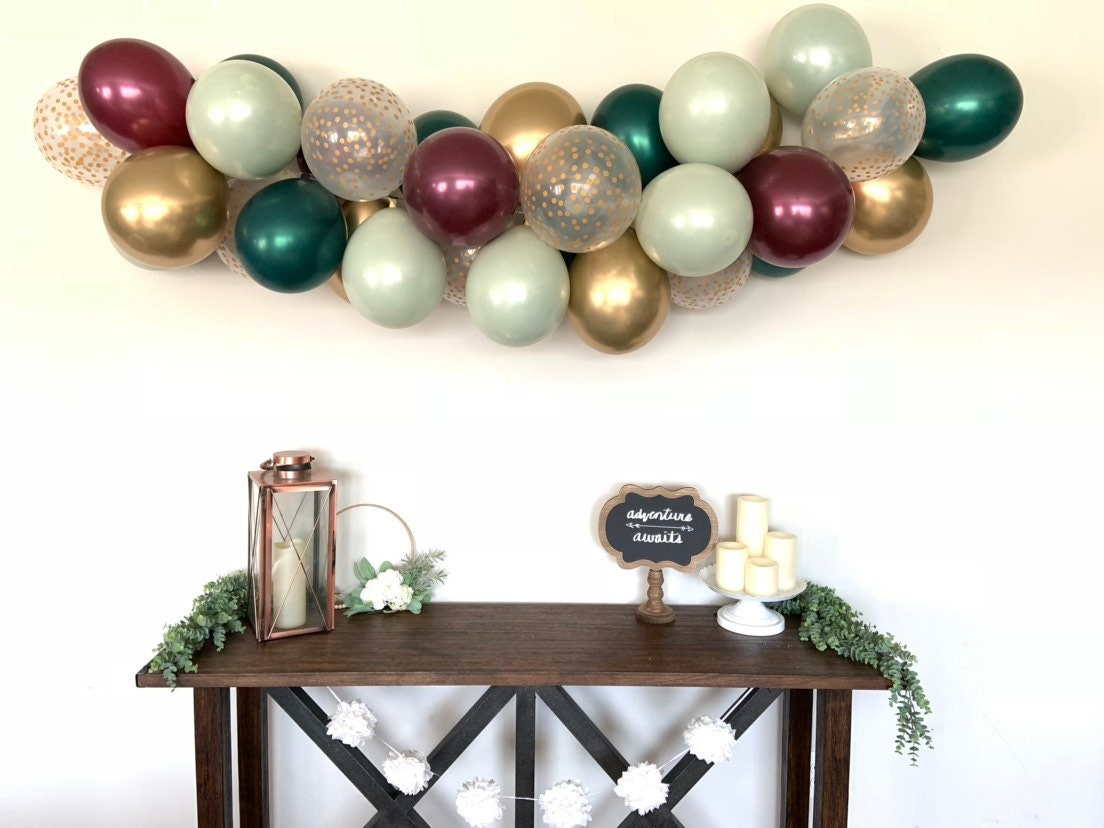 Sage Green And Burgundy Balloon Garland Cranberry And Sage Green Bridal Shower Decor Christmas Balloon Garland Christmas Bridal Shower
