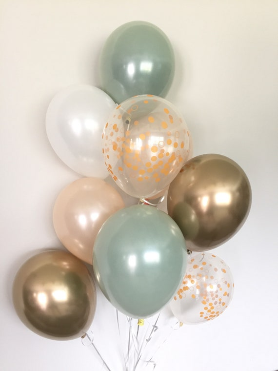 Green Gold And White Balloons Light Green Wedding Decor Green And Gold Balloons Chrome Gold Balloons Sage Green Bridal Shower Decor