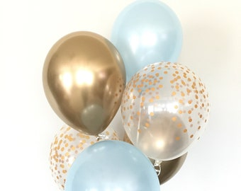 Blue and Gold Balloons | Blue and Chrome Gold Balloons | Something Blue | Gold Bridal Shower Decor | Blue Baby Shower