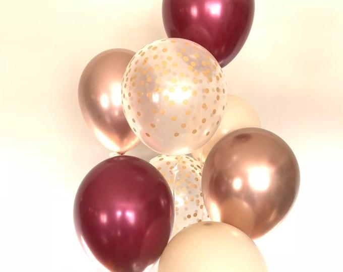 Burgundy and Chrome Rose Gold Balloons | Fall Harvest Balloons | Glam Bridal Shower Decor | Glam Baby Shower | Winter Birthday Balloons