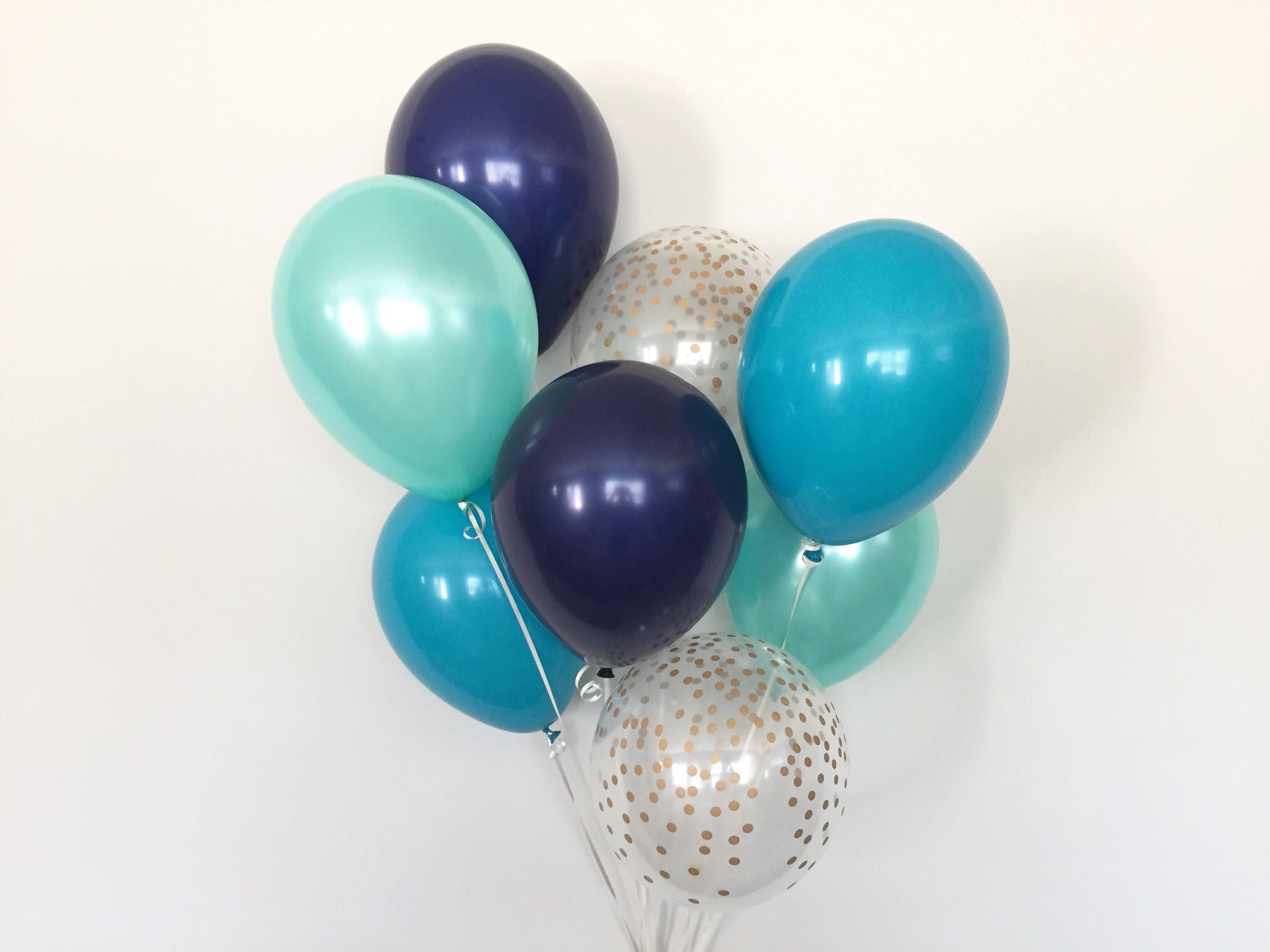 Navy Teal And Mint Balloon Bouquet Navy And Teal Balloon Bouquet Blue Balloon Bouquet Boy Birthday Balloons Boy Baby Shower Decor