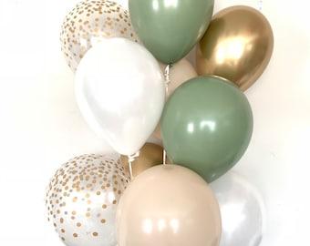 Green and White Balloons | Light Green Wedding Decor | Green and Gold Balloons | Eucalyptus Balloons | Dark Sage Green Bridal Shower Decor