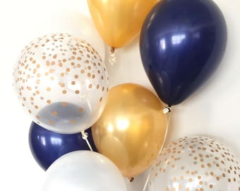 Navy and Gold Balloon Bouquet | Gold and Navy Balloon Bouquet | Navy and Gold Balloons | Navy and Gold Graduation Balloons | Navy Bridal