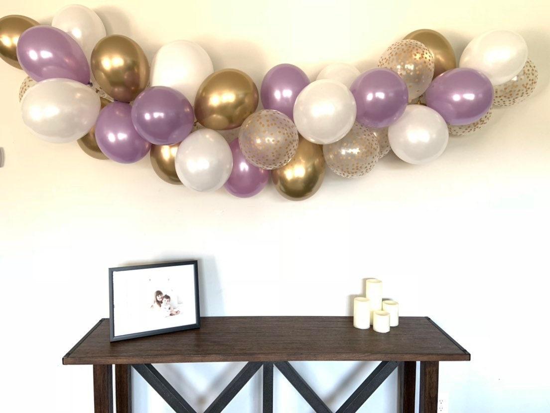 Lavender Balloon Garland Diy Kit Lavender And Gold Bridal Shower Decor Lavender Baby Shower Lavender And White Balloon Garland