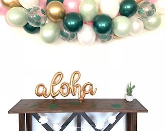 Tropical Balloon Garland | Sage Green and Pink Bridal Shower Decor | Tropical Baby Shower | Tropical Bridal Shower Decor