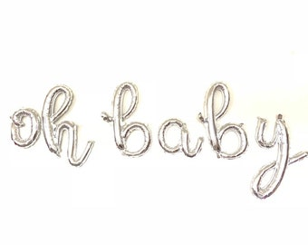 Oh Baby Balloons | Silver Baby Shower Decor | Silver Oh Baby Sign | Silver Oh Baby Script Balloons | Script Balloon Letters