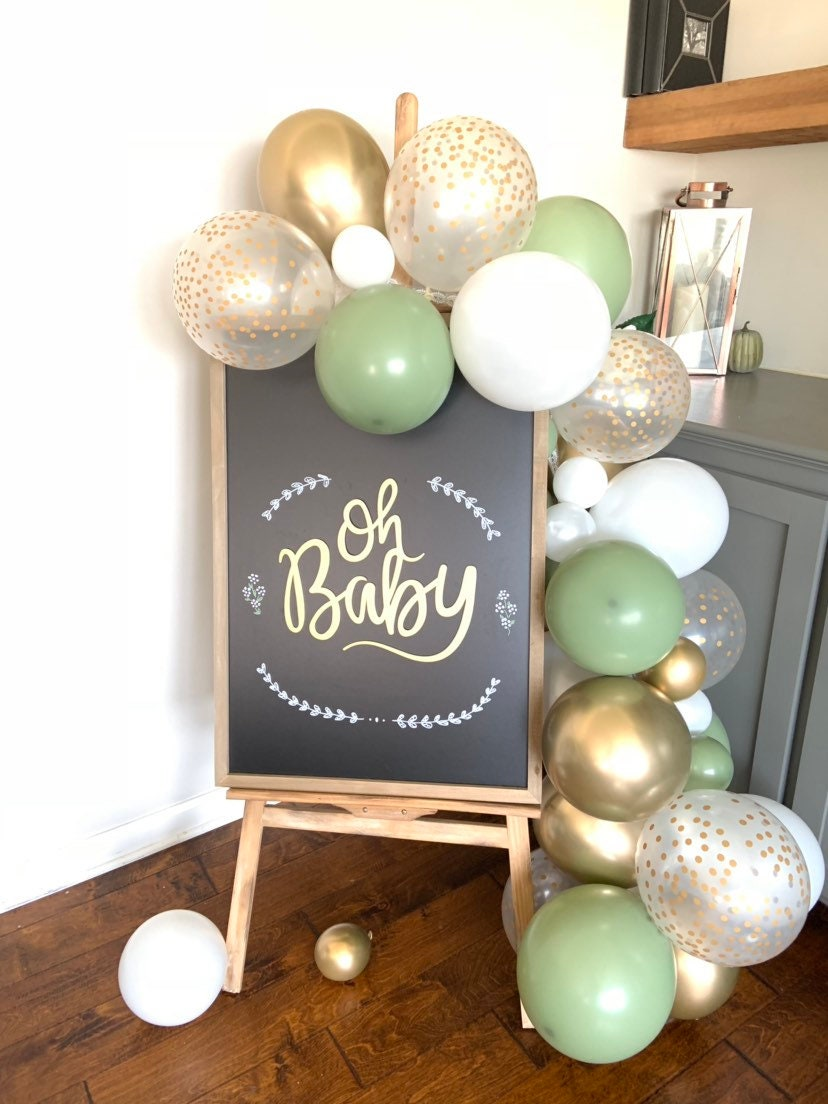 Eucalyptus And White Balloon Garland White And Eucalyptus Bridal Shower Decor Green Baby Shower Welcome Sign Garland
