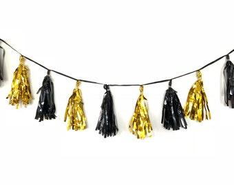 Black and Gold Tassels | Junbo Balloon Tassels | Gold Bridal Shower Decor | Gold and Black Balloon Tassels | Black and Gold Garland