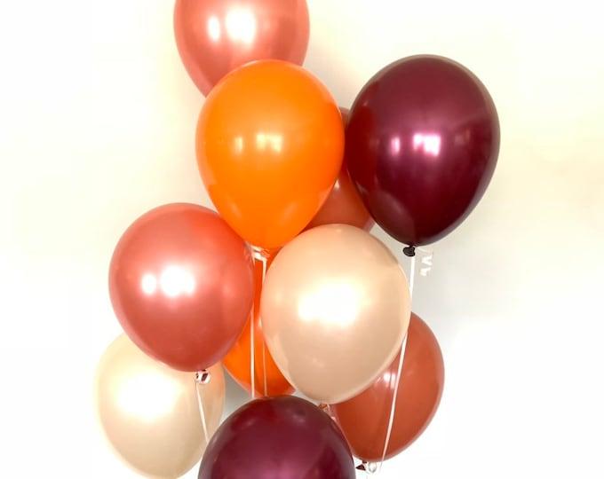Orange and Rose Gold Balloons | Fall Harvest Balloons | Fall Bridal Shower | Little Pumpkin Baby Shower | Pumpkin First Birthday Balloons