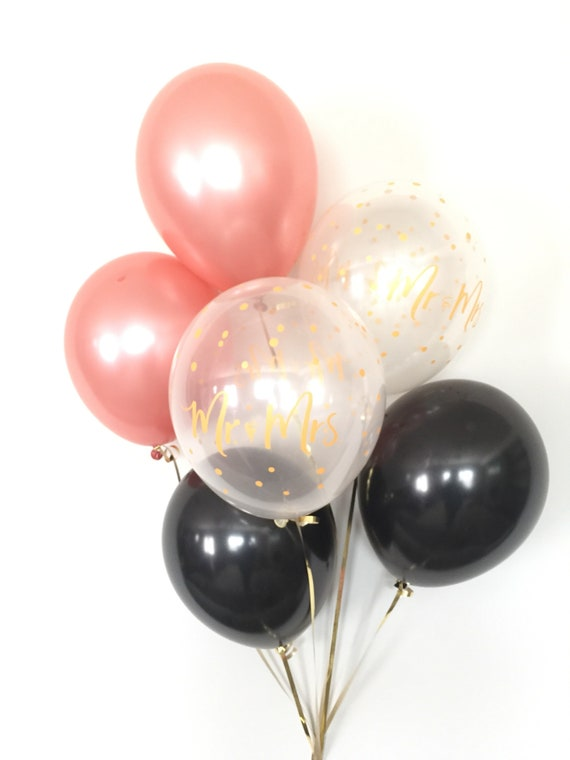 Rose Gold Balloon Bouquet Black And Rose Gold Balloons Etsy