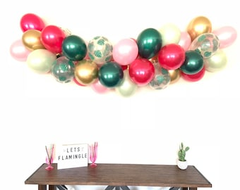 Let's Flamingle Balloon Garland | Pink and Green Bridal Shower Decor | Tropical Baby Shower | Tropical Bridal Shower Decor