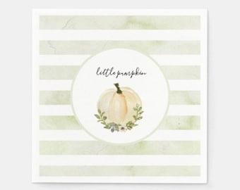 Little Pumpkin Beverage Napkins | Sage Pumpkin Napkins| Little Pumpkin Baby Shower | Fall Bridal Shower Decor | White Pumpkin Napkins