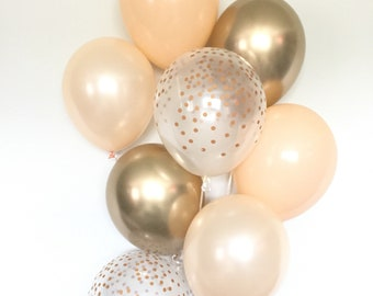 Blush and Gold Balloons   Blush and Chrome Gold Balloons   Gold and Blush Balloons   Gold Bridal Shower Decor   Blush Bridal Shower