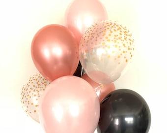 Pink Blush Balloons | Blush and Black Balloons | Black and Blush Balloons | Blush Bridal Shower Decor | Blush Baby Shower