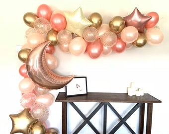 Twinkle Little Star Balloons | Rose Gold Twinkle Little Star Baby Shower Decor | Moon and Star Balloons | Gender Reveal Balloons | Birthday