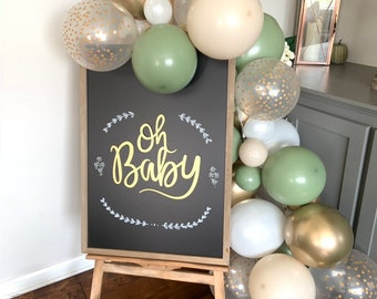Eucalyptus and White Sand Balloon Garland | White And Eucalyptus Bridal Shower Decor | Green Baby Shower | Welcome Sign Garland