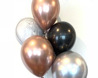 Chrome Rose Gold and Silver Balloons | Rose Gold Bridal Shower Decor | Rose Gold and Black Balloons | Silver and Rose Gold Birthday Decor