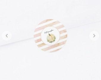 "Little Pumpkin Stickers | One Sheet of 20 Round 1.5"" Little Pumpkin Stickers | Blush Little Pumpkin Baby Shower Favors"