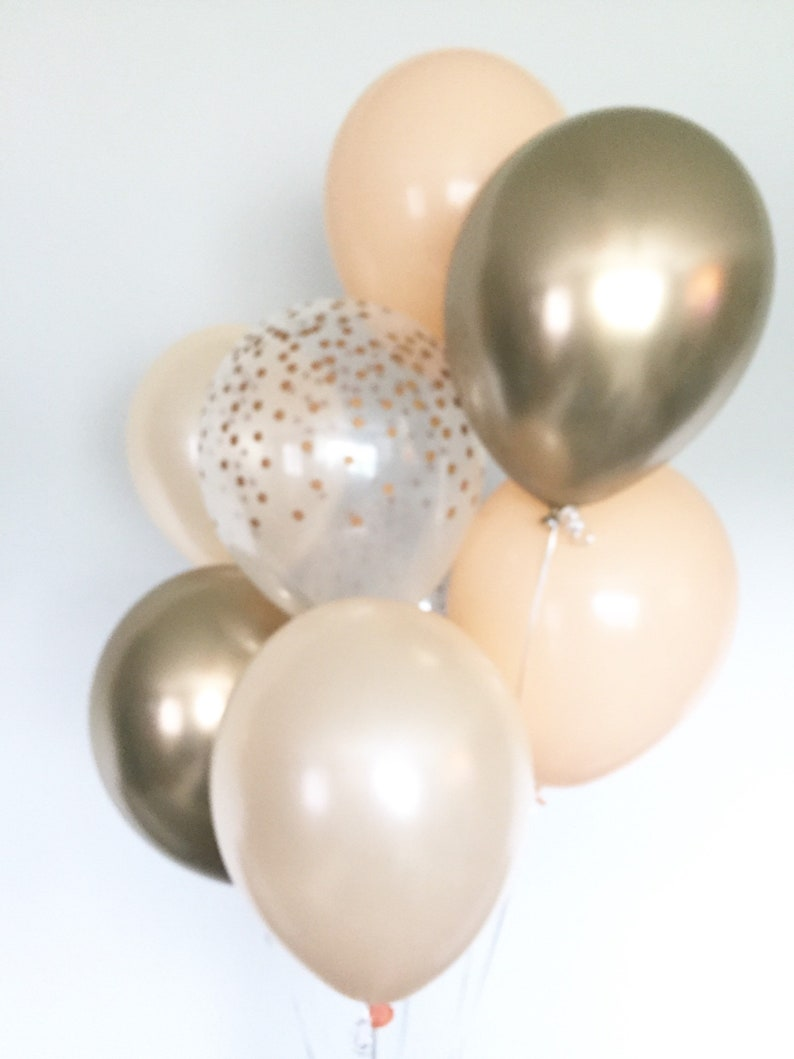 Gold and Blush Balloons Blush and Gold Balloons Blush and Chrome Gold Balloons Gold Bridal Shower Decor Blush Bridal Shower