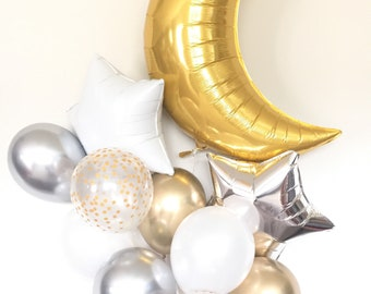 Twinkle Little Star Balloons | Gold and White Twinkle Little Star Baby Shower Decor | Moon and Star Balloons | Gender Reveal Balloons