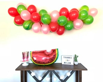 Watermelon Balloon Garland | Pink and Green Bridal Shower Decor | It's Sweet To Be One | One Is Sweet First Birthday