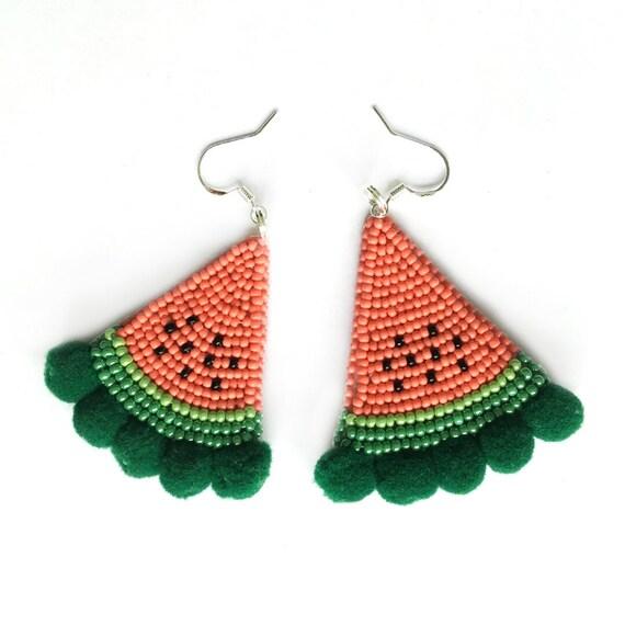 Handmade Beaded Earrings/Sterling Silver, Water Melons