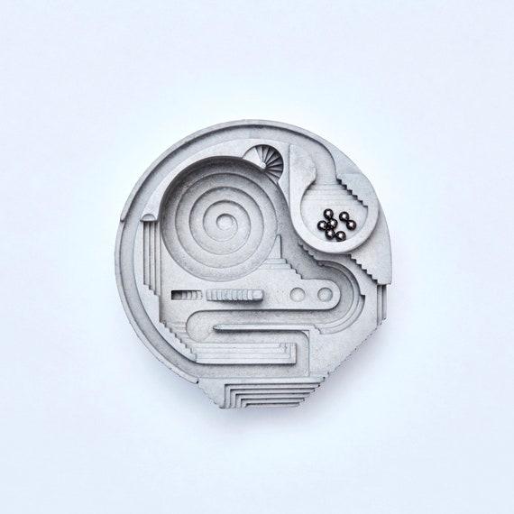 Rolling ball sculpture | Kinetic concrete sculpture | Concrete Desktop toy | Architectural Toy | Balls Eye
