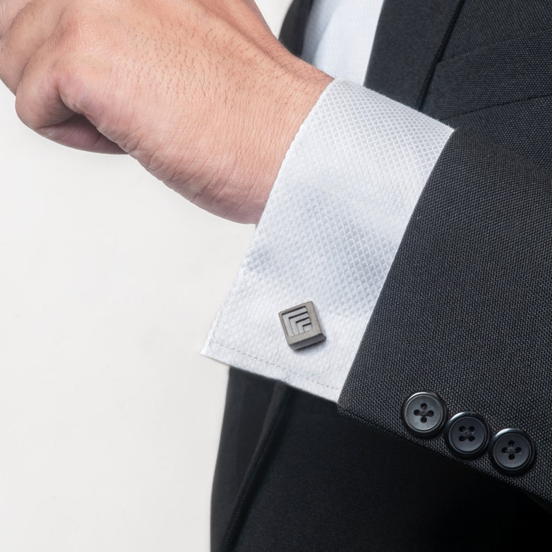 Micro Concrete Cuff Links #4 ELEMENTS Collection