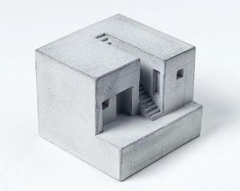 Grey Concrete House # 4 Architectural model Concrete Architect Gift Miniature Brutalist Concrete home Decor