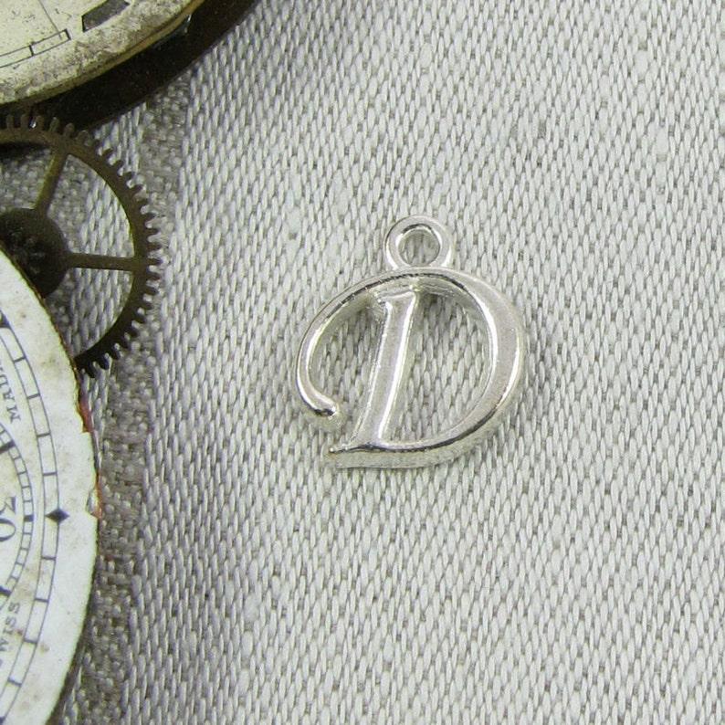 1 or 5, Letter D, Script Letter, Cursive Letter, Initial Charm, Letter  Charm, Charm Bracelet, Initial Pendant, Alphabet Charm, ALF018d