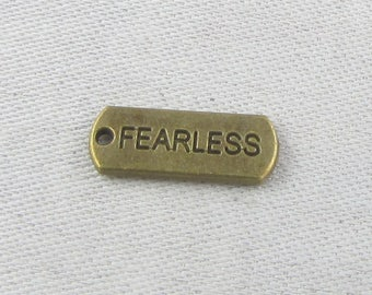 1 or 6, Fearless Word, Inspirational Charm, Affirmation Charm, Fearless Charm, Fearless Pendant, Rectangle Charm, CAU116BZ