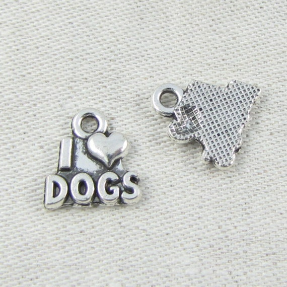 2 Dog charms antique silver tone A798