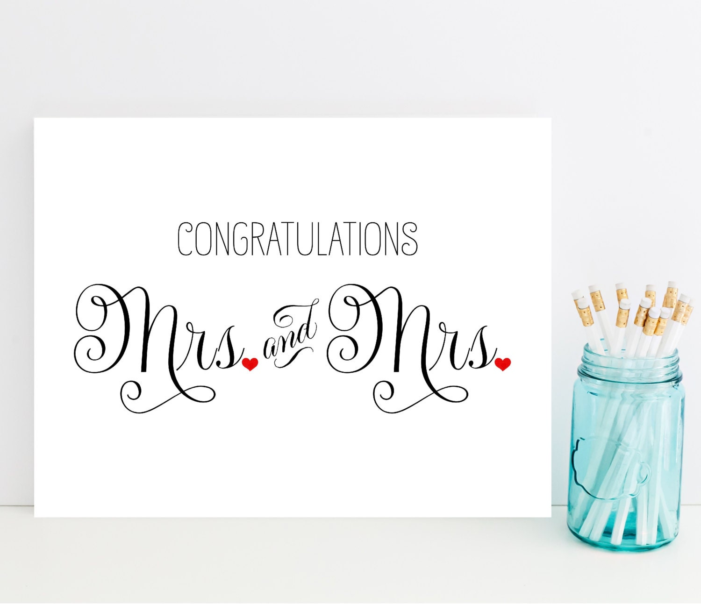 Mrs and mrs congratulations card wedding card for lesbian etsy mrs and mrs congratulations card wedding card for lesbian couple lesbian wedding card m4hsunfo