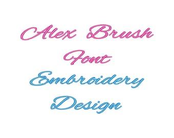 ALEX BRUSH Font Embroidery Design Cursive Embroidery Font Design Embroidery Fonts File Machine Embroidery Designs Instant Download