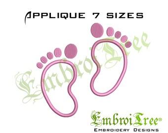 Baby Feet Applique Design. Machine Embroidery Applique Designs. Baby Foot prints Applique. Newborn Embroidery Design. Embroidery Download