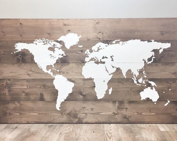 SUPER HUGE Large Rustic World Map made of Wood for Traveller, Rustic Wall Art Decor, Wood World Map for Pin, Great Gift, Travel World Map