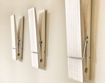 "Large Rustic 9"" Decorative Clothespin in white washed finish - shabby office home nursery laundry room wall decor note photo picture holder"