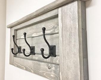 Rustic Wooden Entryway Grey Coat Rack, Rustic Wooden Shelf, Entryway Rack, Coat Rack, Rustic Home Decor, Rustic Furniture, Floating Shelf
