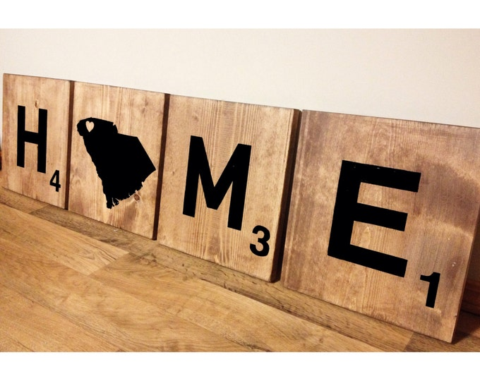 Giant Personalized Scrabble Tiles, Jumbo Wood Tiles for Home, Rustic Wall Decor, State with Heart over City, Great Anniversary House Gift