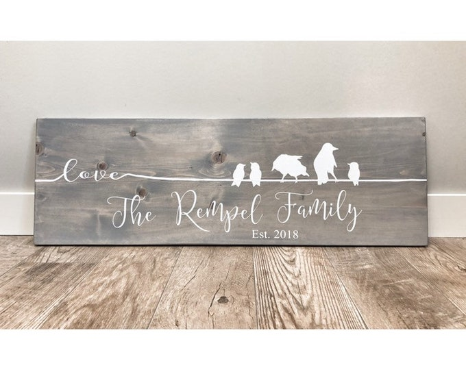 Rustic Wood Sign, Rustic Quote, Rustic Decor, Farmhouse Decor, Rustic Decor, Wall Decor, Wooden Family of Birds with Name, personalized gift