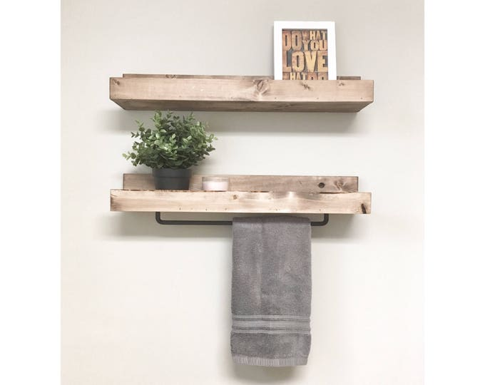 Rustic Wooden Towel Rack for Bathroom Wall, Towel Rack Shelf, Bathroom Rack, Towel Hanger Storage, Towel Bar Ledge Shelf, Floating Shelves