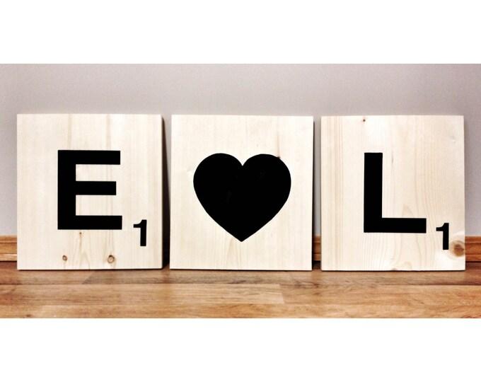 "12"" Giant Scrabble Tile Letters, Large Wooden Letter, Jumbo Scrabble Tiles, Letters to spell Words, Wooden Words, Anniversary Valentine Gift"
