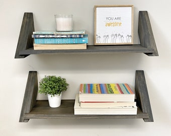 Set of two Shelf Unit, Wall Shelf, Nursery Shelf, Picture Ledge Shelf, Wooden Shelves, Bookshelves, Floating Shelves, Small Shelves