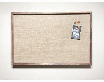 "Huge Burlap Memo Board - 36"" x 24"" PIN Bulletin Board with Hardwood Construction, Brass Tacks and Button Pin Tacks, Vintage Button Tacks"