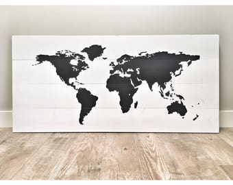 Huge Rustic Wood World Map Home Decor, Farmhouse Living Room Decor, Rustic Nursery Decor Wall Decor, World Traveler