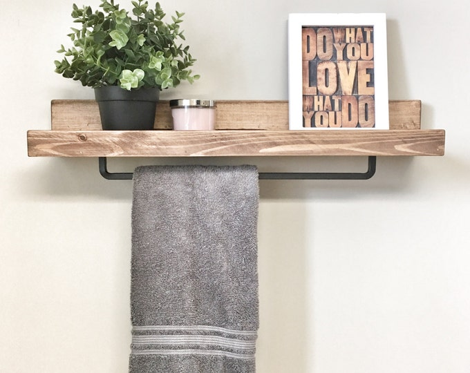 "18"" Floating Shelf for Bathroom Storage and to Hang Towels, Shelf with Towel Bar, Rustic Farmhouse Shelf"